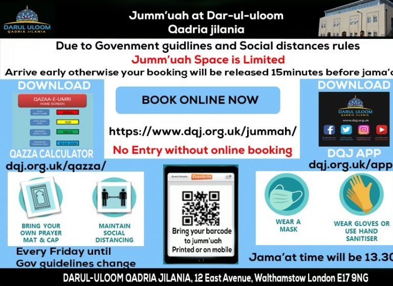 Government guidelines must book before you come to payer jumma